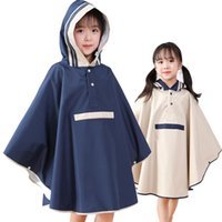 Wholesale raincoat girls for sale - Group buy kids raincoats for girls for waterproof windproof rainwear hat eaves design breathable comfortable high quality poncho raincoat