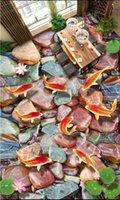 fondo de pantalla de loto en casa al por mayor-Piso de pvc 3D foto personalizada Impermeable Piso autoadhesivo carpa Lotus piedra etiqueta de la pared decoración para el hogar wallpaper de la sala para paredes 3 d
