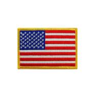 banderas de bordado gratis al por mayor-American Custom Army Militar Rectángulo Bordado Insignias Parches Pequeño Hierro En Usa Bandera Parche Para La Ropa Envío Gratis