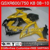 ouro k8 venda por atacado-Ouro amarelo novos Kits Para SUZUKI GSXR-750 GSXR-600 GSXR750 K8 GSXR 600 750 Corpo 9HC.93 GSXR600 GSX R750 R600 08 09 10 2008 2009 2010 Carenagem