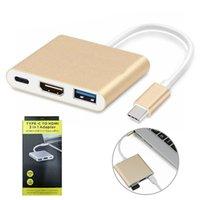 adaptateurs hdmi achat en gros de-Adaptateur de concentrateur USB C 3 en 1 Type-C à 4K HDMI USB 3.1 Chargement Convertisseur multi-ports Splitter pour MacBook Pro PC
