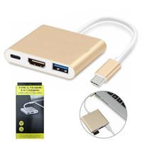 macbook pc venda por atacado-USB C Adaptador Hub 3 em 1 Tipo-C para 4 K HDMI USB 3.1 Carregamento Multi-porta Conversor Splitter para MacBook Pro PC Computador