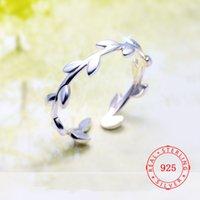 zeytin yaprağı takı toptan satış-925 Gümüş Ağacı Şubesi Zeytin Kadınlar Lady Knuckle Parmak Yüzük Basit Moda Takı Çin Toptan için Ayarlanabilir Rings Yapraklar