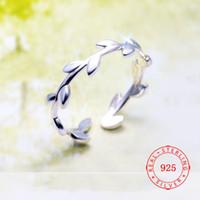 оливковый лист серебристый оптовых-925 Silver Tree Branch Olive Листья Регулируемые кольца для женщин Lady KNUCKLE палец кольца Простые ювелирные изделия способа Китай Оптовая