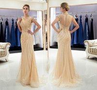 eşsiz zarif gece elbiseleri toptan satış-Stokta yeni Altın Boncuklu Gelin Abiye Jewel Boyun Zarif Gelin Törenlerinde Benzersiz Tül Kristal Parti Gelinlik Modelleri