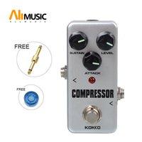 mini efektler pedalları toptan satış-KOKKO FCP2 Mini Kompresör Pedalı Altın Gitar bağlayıcı Ile Taşınabilir Gitar Efekt Pedal