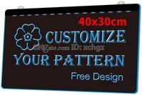 led personalizado venda por atacado-[F000] 40x30 cm Personalizar o Seu Logotipo, Sinais ou Placa Padrão Nova Gravura 3D Sinal de Luz LED Personalizar sob demanda 8 cores