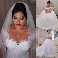 Wholesale simple african wedding dresses resale online - 2020 African Princess White Lace Appliques Plus size Wedding Dresses Long Sleeves Lace Up Back Wedding Gowns Bride Dresses robe de mariee