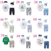 Wholesale Newborn Clothing Sets Girls Boys Baby Cartoon Letters Rompers Pants Hat Headband4pcs Baby Jumpsuits Outfits Sets Infand Clothing Styl