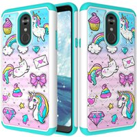 Wholesale dual case bling resale online - For LG Stylo Case Luxury Diamond Bling Rhinestone Case Hard PC Soft TPU Dual Layer Hybrid Protective Cover for LG Stylo