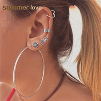 Wholesale turquoise dangling earrings for sale - Group buy 7 Set Vintage Silver Turquoise Stud Earrings Circle Earrings Set Big Hoop Dangle Earring for Women Round Earring Fashion Jewelry