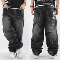 bol kot pantolon toptan satış-2017 Erkek Baggy Jeans Erkekler Geniş Bacak Denim Pantolon Hip Hop Yeni Moda Nakış Skateboarder Jeans Ücretsiz Kargo çolil