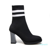Wholesale girls socks sale resale online - Hot Sale Arden Furtado spring autumn chunky heels cm girls striped cloth casual ankle boots shoes woman fashion socks boots women s