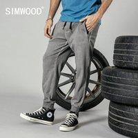 Wholesale track orders resale online - SIMWOOD jogger pants men dark washed retro sweatpants drawstring zipper pockets vintage ankle length track trousers
