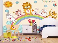 Wholesale chinese hand painted art for sale - Group buy Custom Size D Photo Wallpaper Living Room Mural Hand painted Rainbow Zoo Picture Mural Home Decor Art Creative Hotel Study Wall Paper D