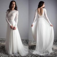 Wholesale color outdoor wedding dress resale online - Long Sleeves Lace Wedding Dresses Tulle Backless Outdoor Bridal Dresses Vintage Long Wedding Gowns Vestidos De Novia