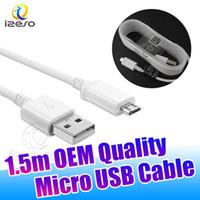 micro usb cable oem achat en gros de-Pour Samsung NOTE4 Haute Vitesse 2.0 USB à Micro V8 Charge Sync Câble de Données 5ft OEM Chargeur Rapide Cordon pour Galaxy Note4