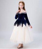 fildişi tül etek kızları toptan satış-Grace Mavi / Fildişi Tül Jewel Boncuk kızın Pageant elbise Çiçek Kız Elbise Prenses Parti Elbiseler Çocuk Etek Custom Made 2-14 H317482