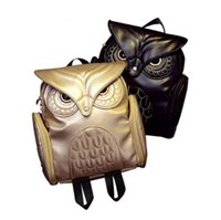 Wholesale owl leather bag resale online - New Fashion Women Backpack Newest Stylish Cool Black PU Leather Owl Backpack Female Hot Sale Women shoulder bag school bags