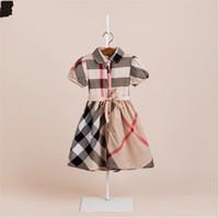 falda de la liga de los niños al por mayor-Vestido de algodón para niñas de verano Bebé Niños Princesa Lattice Falda Falda de muñeca