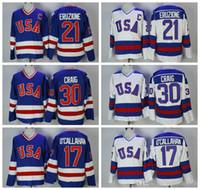 abd yamaları toptan satış-1980 ABD Olimpiyat Hokeyi Jersey 21 MIKE Eruzione 30 Jim Craig 17 JACK O'Callahan Mavi Beyaz Vintage Dikişli Formalar C Yama