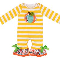 arco bordado al por mayor-Bebé recién nacido mameluco rayado calabaza bordado arco cuerno de Halloween mamelucos del bebé del bebé del bebé niña diseñador de ropa 0-3T