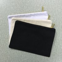 ingrosso sacchetti di stampa a schermo-Pochette in tela di cotone naturale zipperedd in cotone naturale borsa per cosmetici in cotone nero borsa per il trucco in bianco alla moda serigrafia fai da te