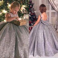 vestidos bonitos para crianças venda por atacado-Sparkly Lantejoulas 2020 Flower Girl Dresses Tripulação vestido de Baile Vestidos de Pageant Criança Do Vintage Bonito para Casamentos