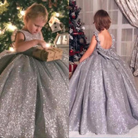 Wholesale custom made child pageant dresses resale online - Sparkly Sequined Flower Girl Dresses Crew Ball Gown Vintage Child Pageant Dresses Beautiful for Weddings