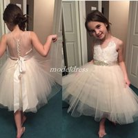 Wholesale sheer black dress for christmas for sale - 2019 Champagne Flower Girl Dresses For Weddings Sheer Neck See Through Appliques Sash Short Girls Pageant Dress Child Birthday Party Gowns