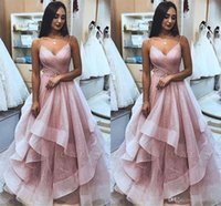 Wholesale prom dress tiered tulle for sale - Group buy Sexy Amazing Glitz Pink Prom Dresses Spahgetti Strap A Line Sequins Tulle Ruffles Evening Gowns Long Formal Party Pageant Dress Custom