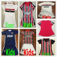 kits de fútbol juvenil rojo al por mayor-2019 2020 Sao Paulo camisetas de fútbol EI Portero PABLO Custom Home Aw blanco rojo azul uniforme ay Mujeres adultas Niños kit Juvenil camiseta de fútbol