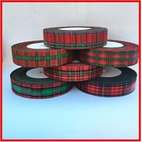 arcos de regalo rojo al por mayor-2019 nuevo 50 yardas 25mm Red Lattice Printing Grosgrain Ribbon Bows Christmas Party gift Decor Craft