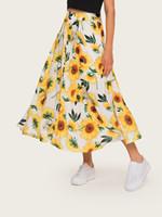 vestido branco boêmio xl venda por atacado-2019 designer de verão vestido de impressão floral grande bainha saia de praia elástico na cintura preto branco A-line saia boêmio atacado