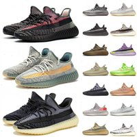Wholesale running trainers black for sale - Group buy 2020 Kanye West Static Running Shoes New Israfil Cinder Desert Sage Earth Tail Light Zebra Womens Mens Trainers Sports Sneakers With box