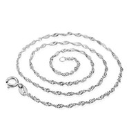 Wholesale mexican sterling silver prices resale online - Factory Price MM inch inch Chain Necklace sterling Silver Water wave chain Necklace Jewelry