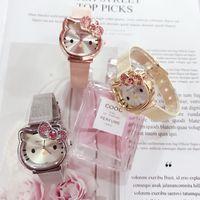 olá desenhos animados do gato da vaquinha venda por atacado-DHL / EMS LIVRE 50 pcs Moda KT Meninas Relógios Crianças Relógios de Pulso Bonito Dos Desenhos Animados Olá Kitty Gato rosa Relógio de Moda de Luxo Senhora Menina Relógio Banda