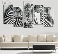 zebra wandmalereien großhandel-Neue Stil Zebra Leinwand Malerei Bilder An Der Wand Druck Gemälde Home Decor Leinwand Wandkunst Modularen Fotos Kein Rahmen