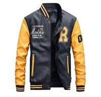 couro casaco homens esporte venda por atacado-Homens Fashion Designer Jacket outono e inverno PU Leather Mens Casacos jaqueta casual Estilo Foe Masculino Outdoor Sports Vestuário Jacket