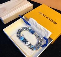 brazalete plano plateado al por mayor-Nueva joyería de moda de acero inoxidable de lujo pulseras brazaletes pulseiras pulseras para hombre y mujeres con caja de regalo RS55A