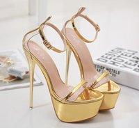 gelin sandal altın toptan satış-16 cm Seksi gelin düğün ayakkabı altın topuklu kadın tasarımcı yüksek topuk sandalet ayakkabı balo gowmn elbise ayakkab ...
