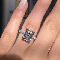 anéis de prata de declaração venda por atacado-Declaração de anel de prata esterlina 925 princesa corte de noivado de diamante anéis de banda de casamento para as mulheres homens festa de presente da jóia