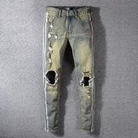 mens algodão motocicleta calças venda por atacado-Mens Retro Rasgado Calças Lápis Moda Calças de Tricô Motociclista Diária Causal Zipper Algodão Jeans Motocicleta Jeans TTA624