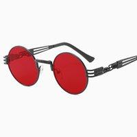 tons redondos para homens venda por atacado-Metal Steampunk Óculos De Sol Das Mulheres Dos Homens de Moda Óculos Redondos Marca de Design Óculos De Sol Do Vintage de Alta Qualidade UV400 Óculos Shades
