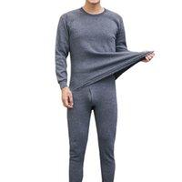 мужское нижнее белье оптовых-Мужская зима термобелье костюм круглый воротник чистый цвет рубашки + брюки 2 шт. набор теплый толстый плюс бархат комплект одежды #VD11