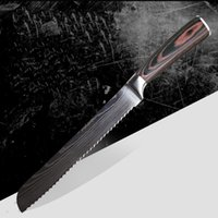 Wholesale laser knives resale online - 8 inch stainless steel bread knife with laser damascus ripple frozen meat knife kitchen knife with pakkawood handle