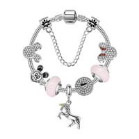 ingrosso accessori per l'animazione-17-21 cm nuovo unicorno braccialetto pandora stile braccialetti d'argento animazione dolce mouse perle di fascino per i bambini regalo gioielli fai da te accessori con scatola
