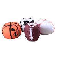futbol şekli toptan satış-18 Inç Oyuncaklar Saklama Çantası Oturan Sandalye Fasulye Torbaları Futbol Basketbol Beyzbol Rugby Şekli Araba Organizatör Dolması Peluş Fasulye Torbaları yeni GGA1871
