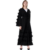decoracion islamica al por mayor-Plus Size Fashion Women Muslim Robe Loose Flowers Decor Front Open Tied Waist Vestido de manga larga Arab Abaya Islamic Cardigan