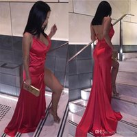 Wholesale gold evening gowns online - Cheap Sexy Backless Red Split Evening Party Dresses Sheath V Neck Plain Simple Satin Long Prom Gowns